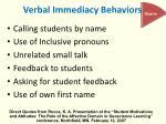 verbal immediacy behaviors