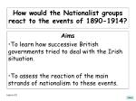 how would the nationalist groups react to the events of 1890 1914
