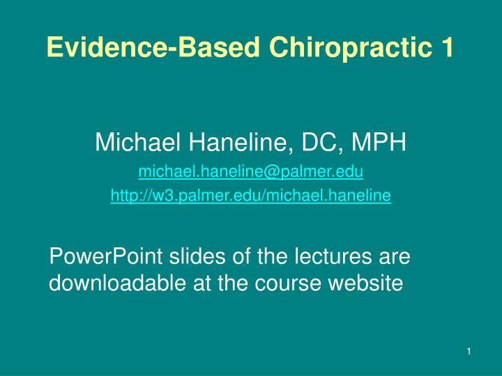 evidence based chiropractic 1 n.
