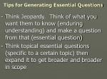 tips for generating essential questions