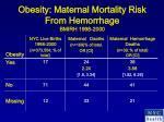 obesity maternal mortality risk from hemorrhage bmirh 1998 2000