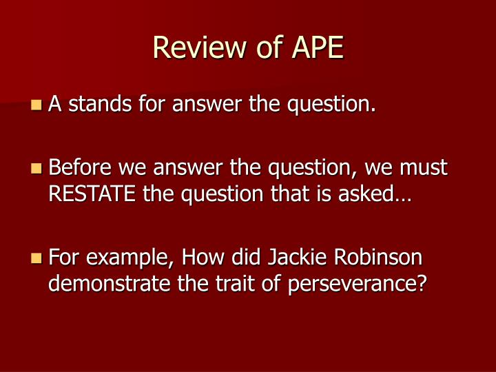 Review of ape