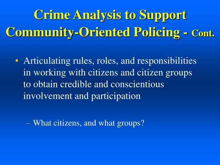 Crime Analysis to Support
