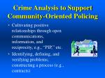 crime analysis to support community oriented policing