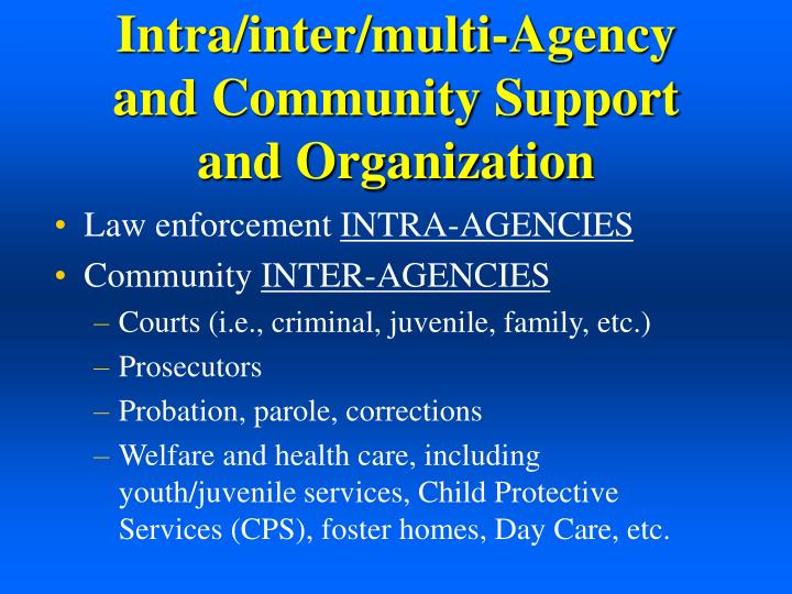 Intra/inter/multi-Agency and Community Support and Organization
