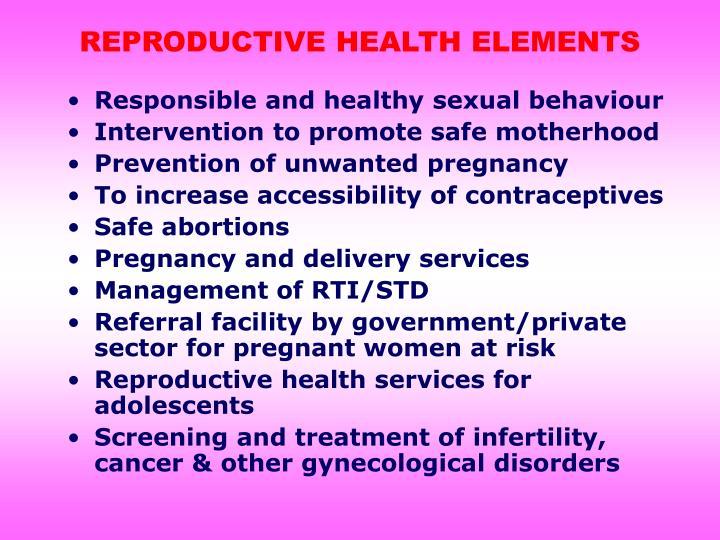 REPRODUCTIVE HEALTH ELEMENTS