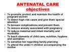 antenatal care objectives
