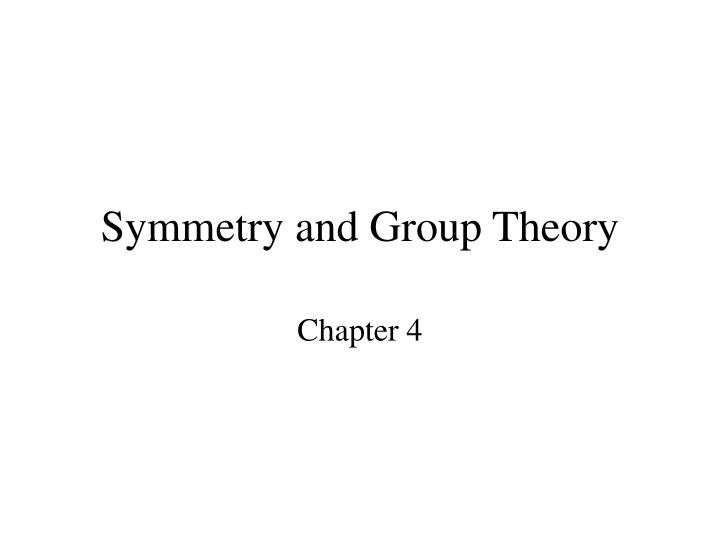 symmetry and group theory n.