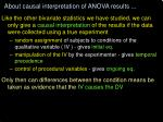 about causal interpretation of anova results