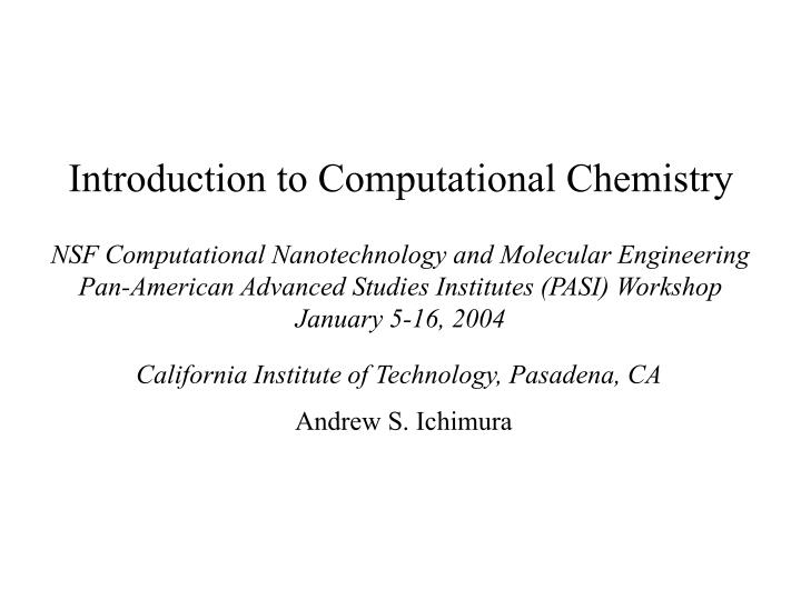 introduction to computational chemistry n.