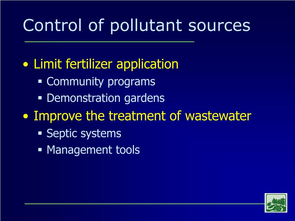 Control of pollutant sources