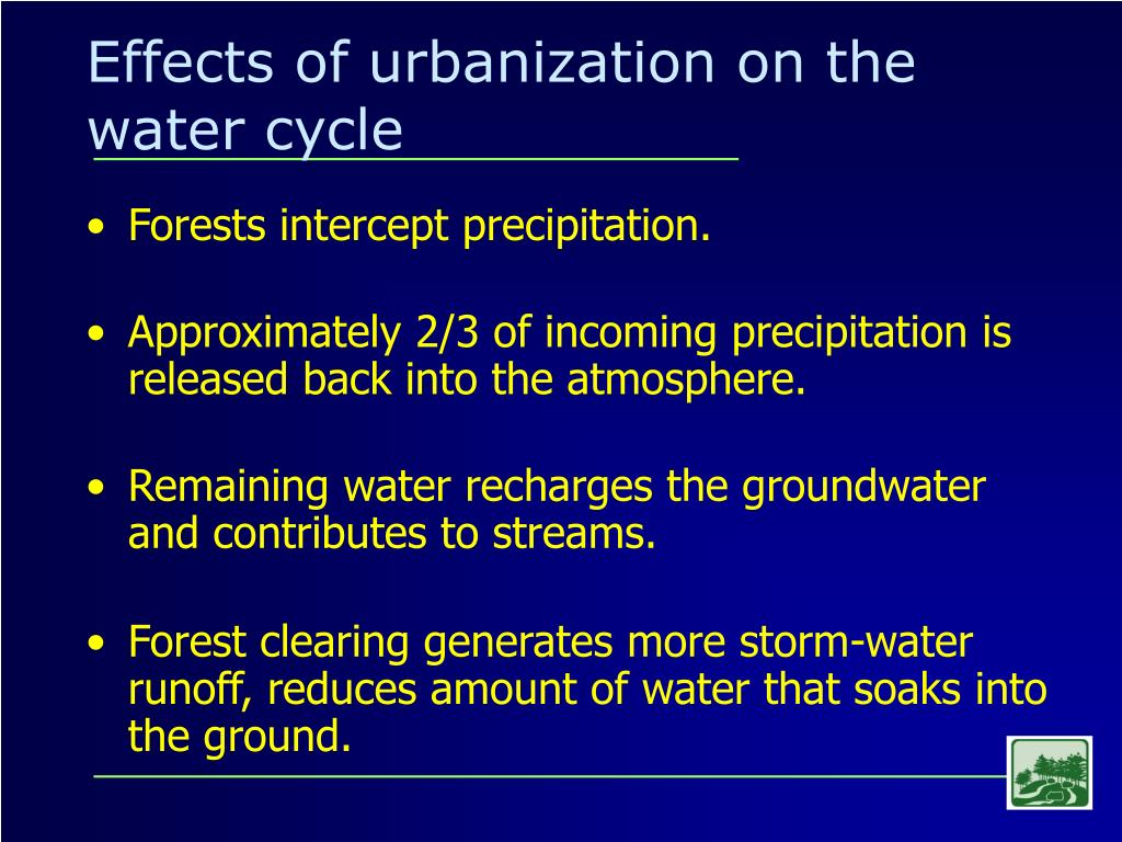 Effects of urbanization on the water cycle