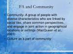 fa and community