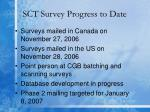 sct survey progress to date