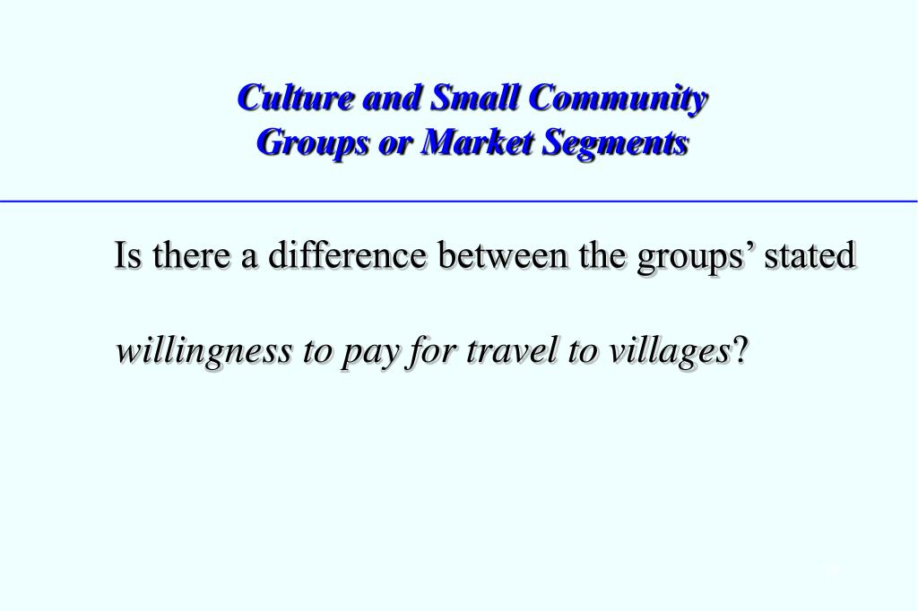 Culture and Small Community