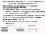 dependencies vs associations look at relationships what are they going to be become