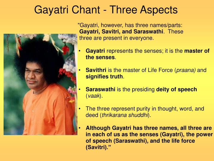 Gayatri chant three aspects