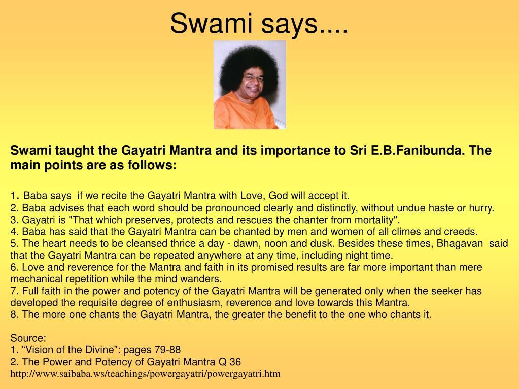 Swami says....