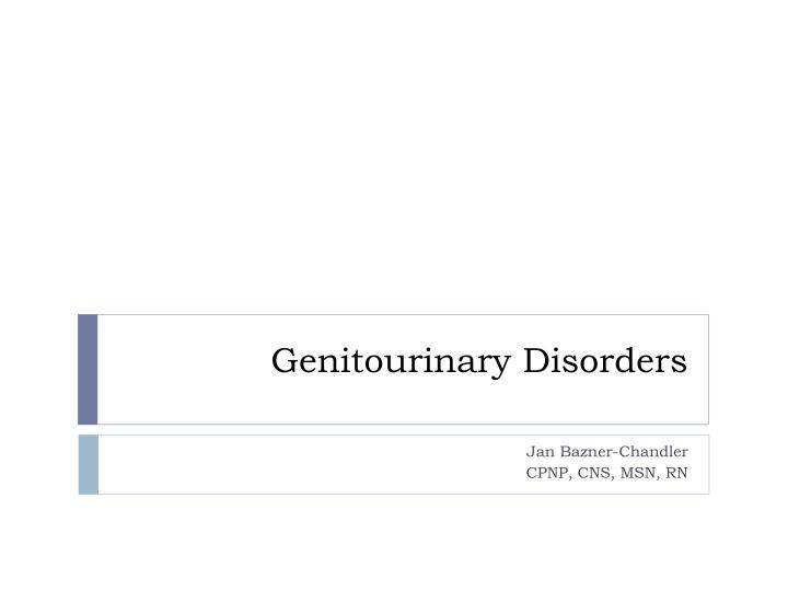 genitourinary disorders n.