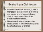 evaluating a disinfectant1