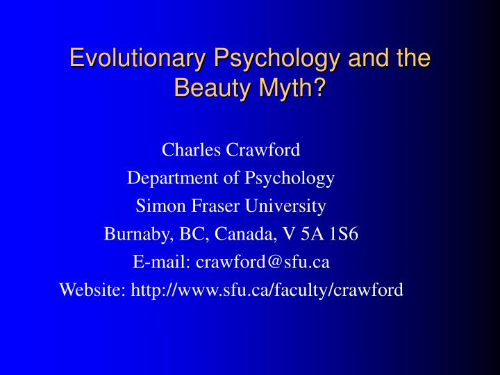 evolutionary psychology and the beauty myth n.