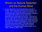 wilson on natural selection and the human mind