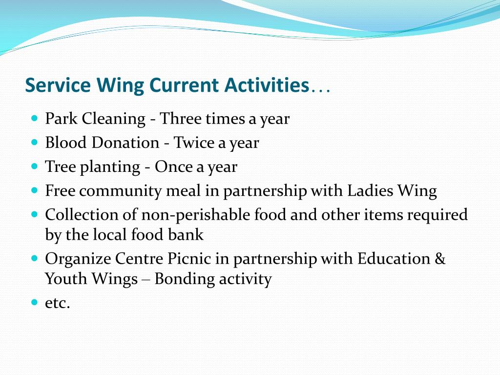 Service Wing Current Activities