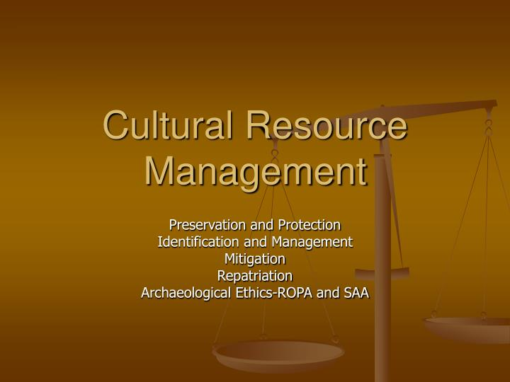cultural resource management n.