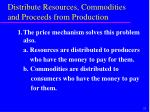 distribute resources commodities and proceeds from production