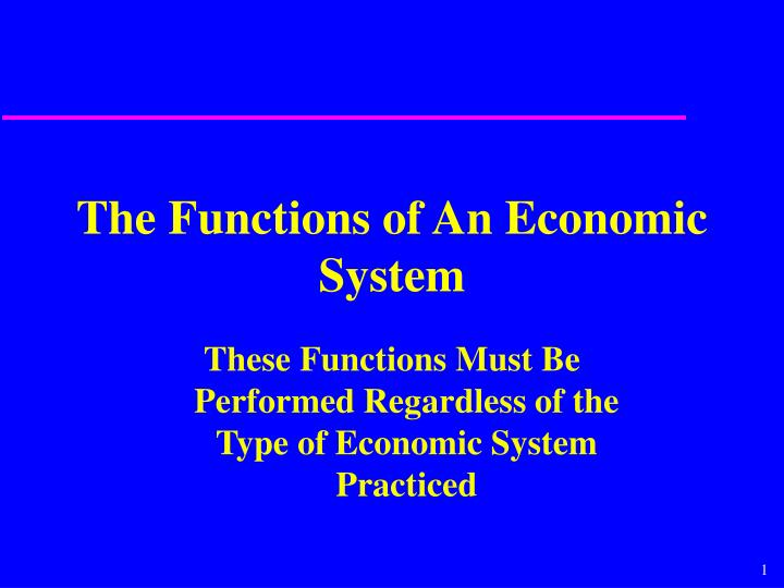 the functions of an economic system n.