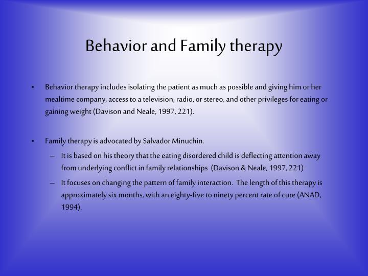 behavioral family therapy Psychology definition of behavioral family therapy: n a therapeutic approach which aims to help families going through difficulties in their relationships this group treatment is learning-based and, thus.