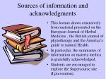 sources of information and acknowledgments