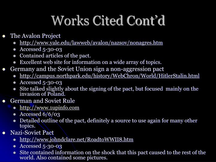 Works Cited Cont'd