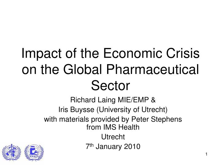 impact of the economic crisis on the global pharmaceutical sector n.