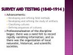 survey and testing 1840 1914