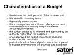 characteristics of a budget