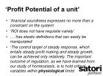 profit potential of a unit