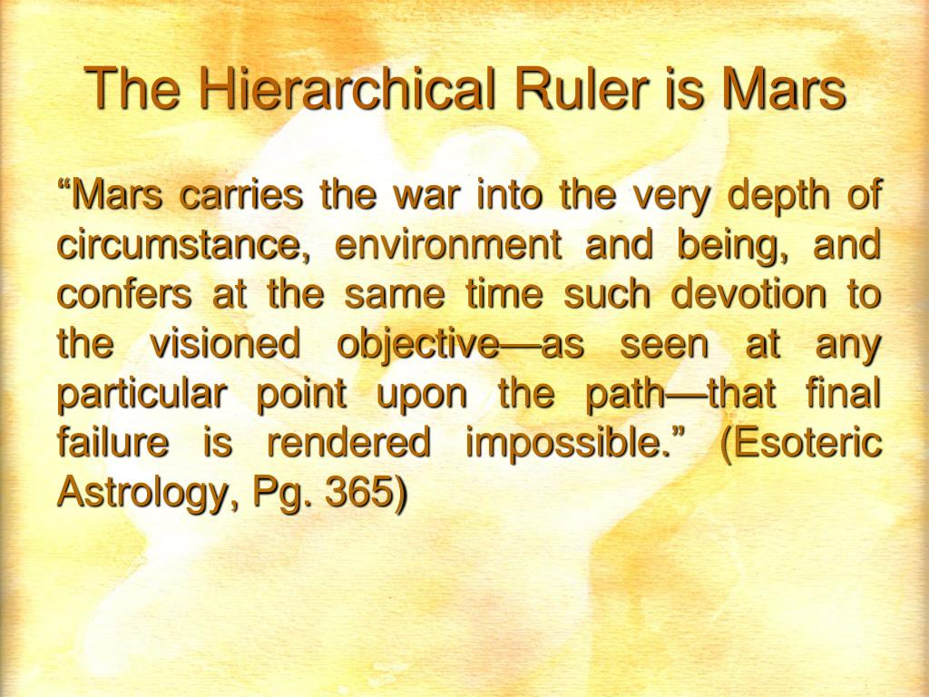The Hierarchical Ruler is Mars