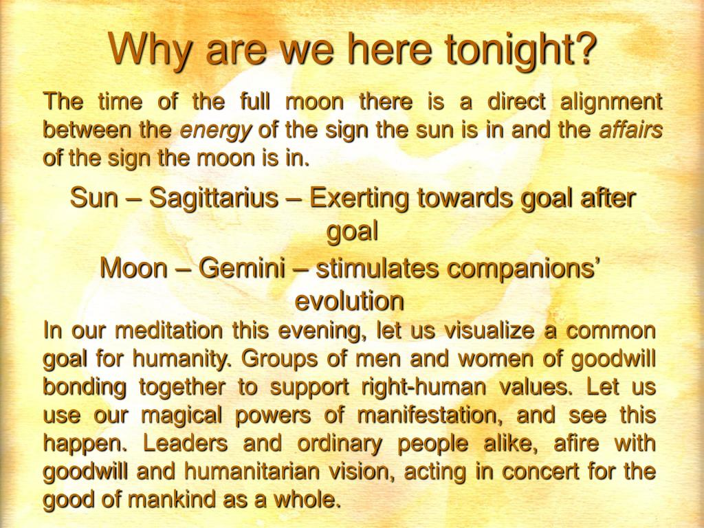 Why are we here tonight?