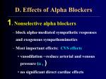 d effects of alpha blockers