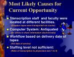 most likely causes for current opportunity