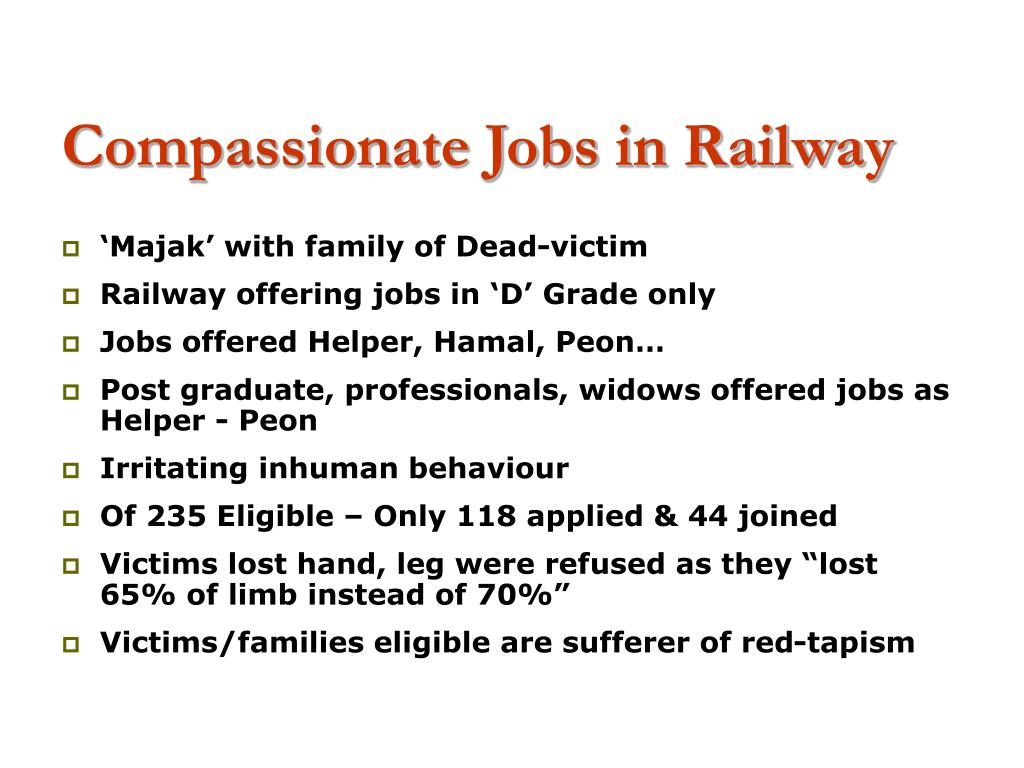 Compassionate Jobs in Railway