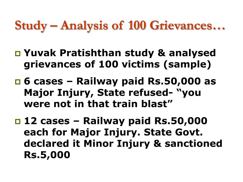Study – Analysis of 100 Grievances…