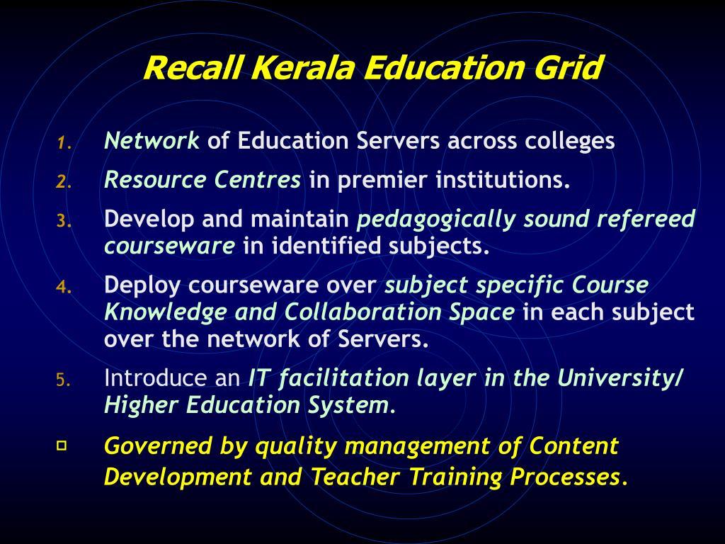 Recall Kerala Education Grid