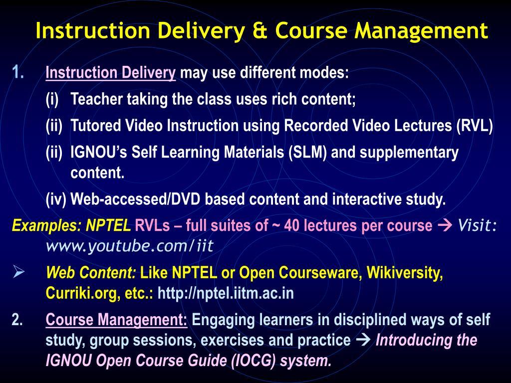 Instruction Delivery & Course Management