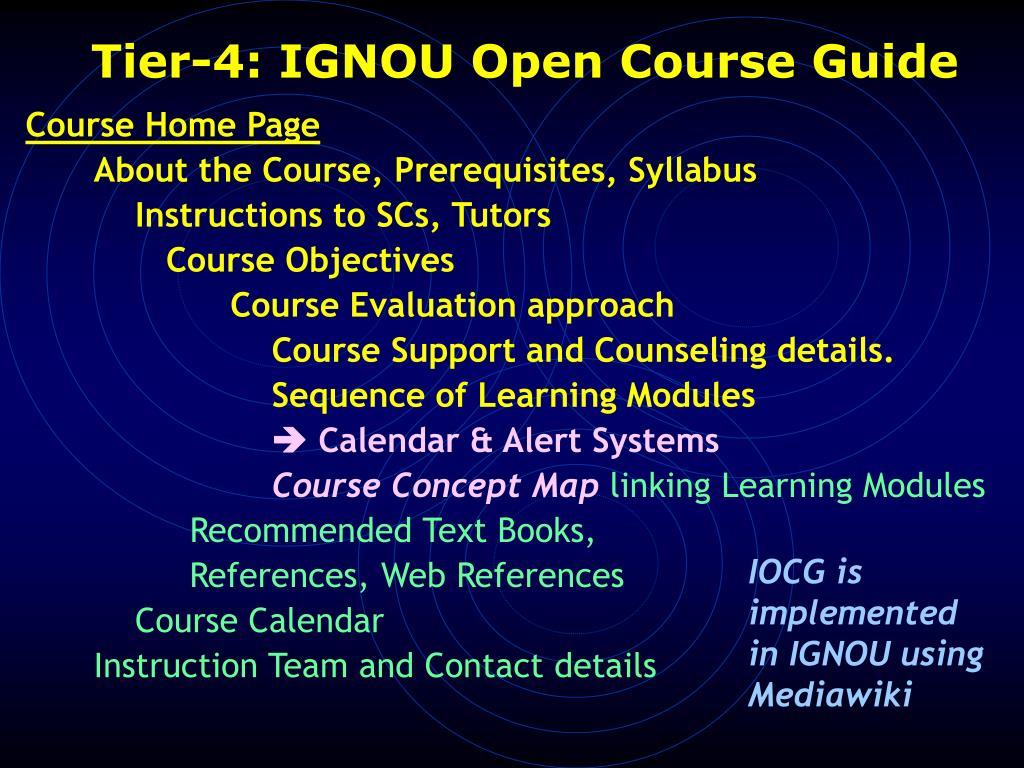 Tier-4: IGNOU Open Course Guide