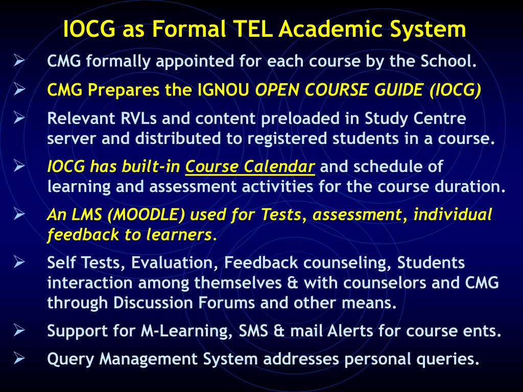 IOCG as Formal TEL Academic System