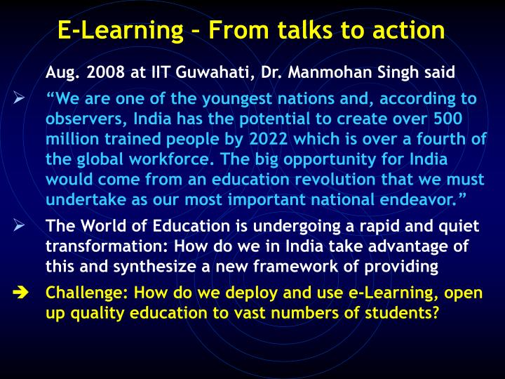 E-Learning – From talks to action