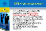 dfeh on investigation