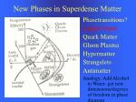 new phases in superdense matter